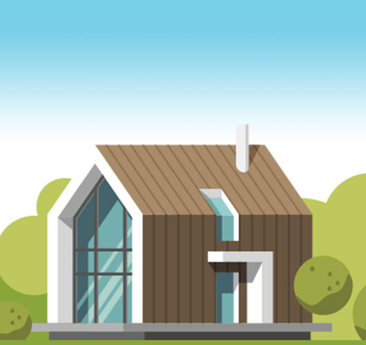 An illustration of a wooden house with big windows